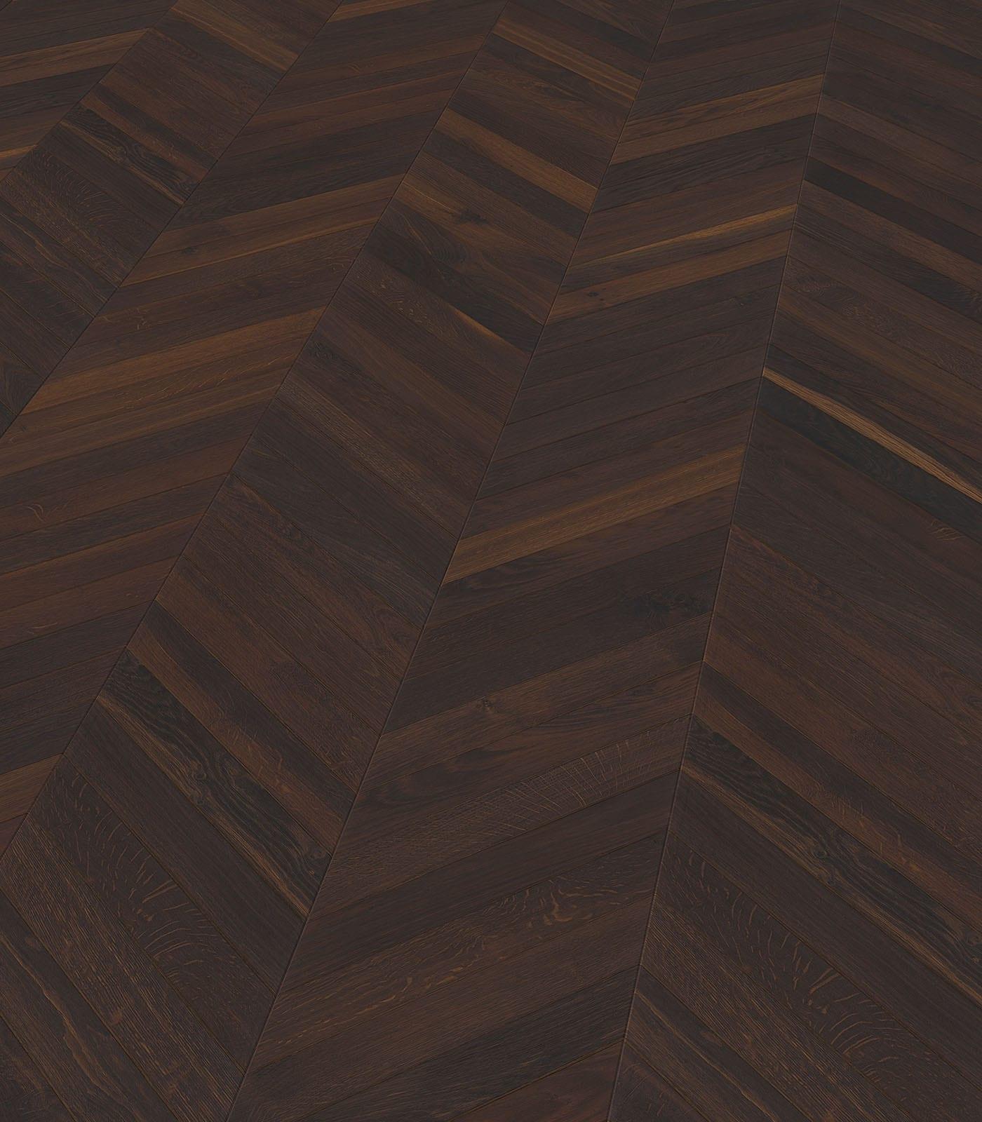 Chevron single floor planks-European Smoked Oak-angle