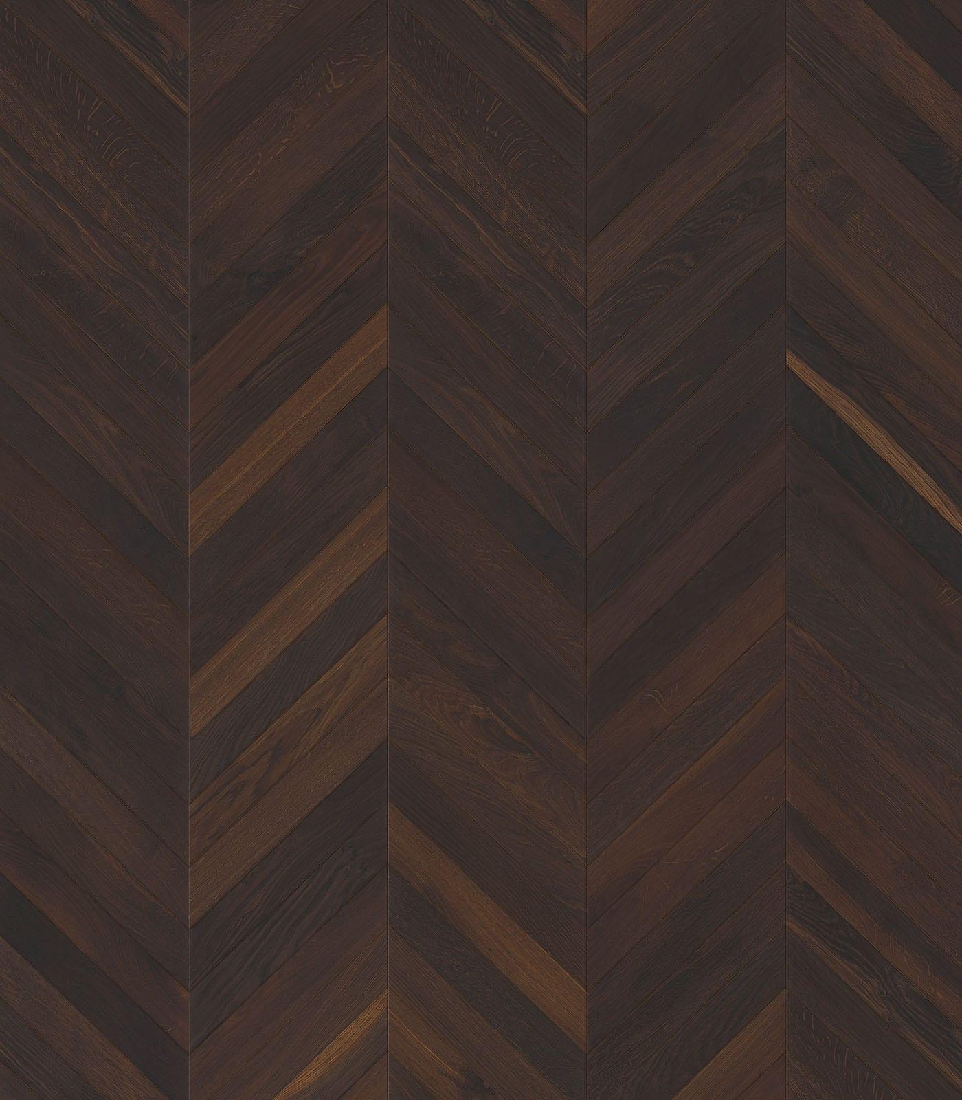 Chevron single floor planks-European Smoked Oak-flat