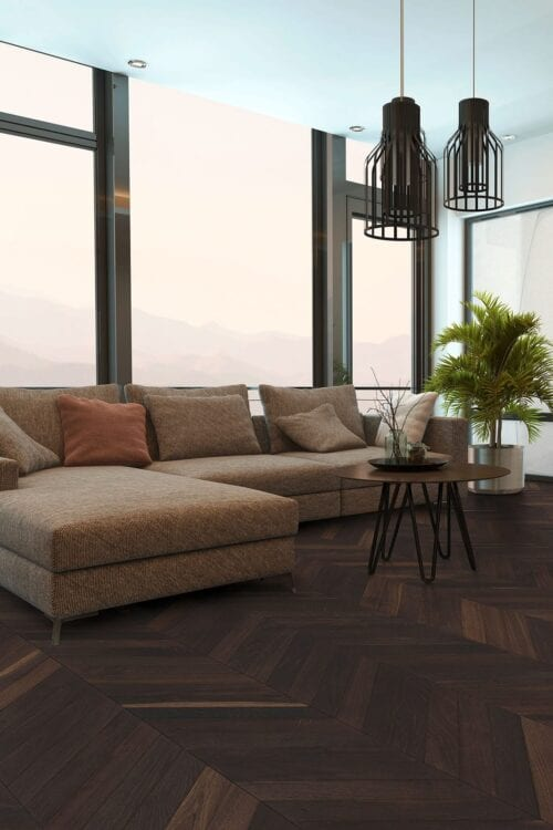 Chevron single floor planks-European Smoked Oak-room