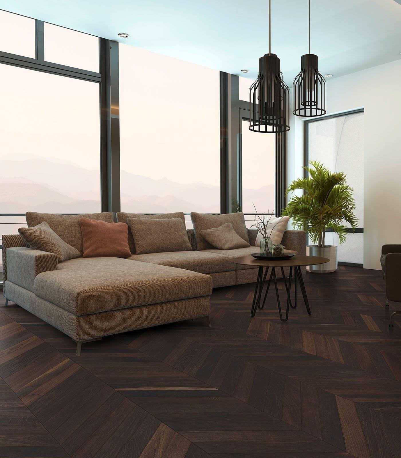 Chevron single floor planks-European Smoked Oak-room