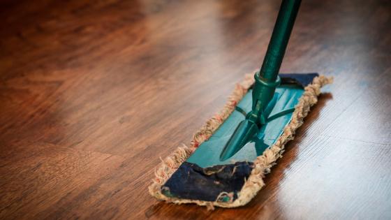 floor polishing mop on a wood floor