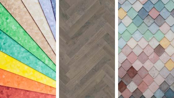Flooring materials including rainbow choices of linoleum, herringbone wood floor and pastel tile assortment