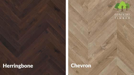 Side by side wood floors in dark herringbone and lighter coloured chevron designs